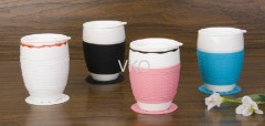 New Bone China Ceramic Coffee Mug With Silicone Saucer and Grip & Lid