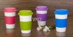 White Ceramic Coffee Mug With Silicone Grip And Lid