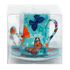Butterfly Decal Printing New Bone China Cup With Saucer