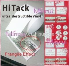 ultra destructible label materials