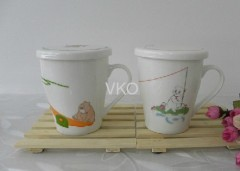New Bone China Cup With Lid