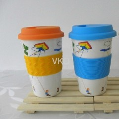 New Bone China Ceramic Travel Mug Cup With Silicone Grip And Lid
