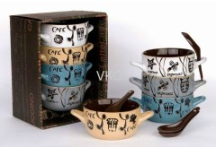 New Bone China Soup Mug With Spoon For Promotion