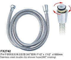 Stainless Steel Double Clip Shower Hose (360°Rotation)