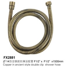 Copper In Ancient Style Double Clip Shower Hose