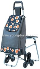 wheeled foldable trolley bag with seat