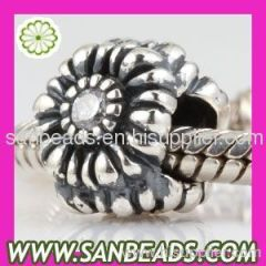 Wholesale Sterling Silver April Birthday Charm Beads with CZ Stone