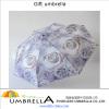190T Pongee windproof super light 3 folding umbrella / Decorative pattern fashionable gift umbrella