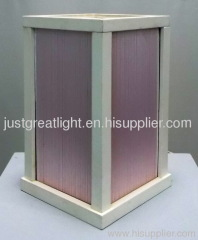 White cube wooden body with thread table lamp for art deco TL044