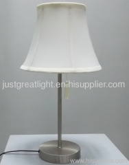 Promotional white fabric shade antique table lamp with steel base TL014