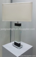 Bedroom mirror surface square table lamp with fabric shade TL010