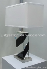 Popular mirror table lamp with rectangular shade and turn knob switch TL009