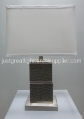 New black faux leather table lamp with rectangle shade for hotel TL008