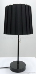 Quality black fabric pleating table lamp with metal base for hotel TL016