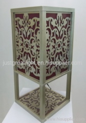Contemporary square wood laser cut lamp for bedroom decoration TL047
