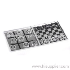 ALUMINIUM GAME SET 2 IN 1 GAME(CHESS,TIC TAC TOE)