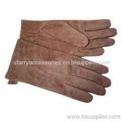 Brown pig suede leather gloves