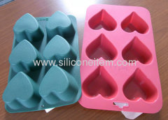 6 PINK Hearts Muffin / Tart Silicone Mould