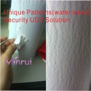 Unique security label materials,water wave destructible vinyl materails