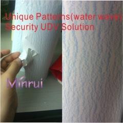 Unique security label materials,water wave destructible vinyl materails
