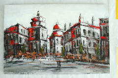Handmade Building Art Paintings
