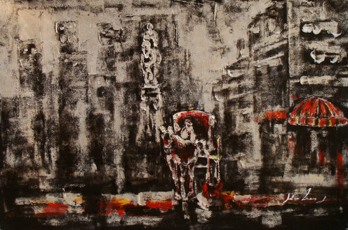 Abstract Building Oil Painting On Canvas
