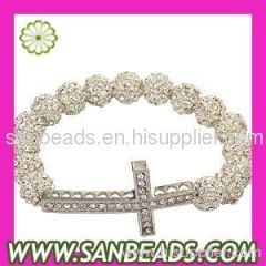 Fashion Crystal Disco Ball Bead Bracelets With Alloy Crystal Cross