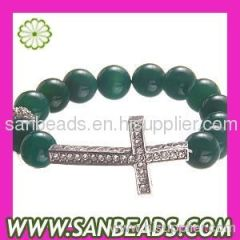 Fashion 12mm Green Agate Bead Bracelet With Cross Wholesale