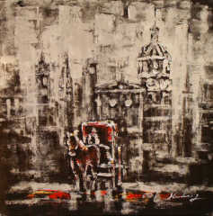 Decorative Building Oil Painting On Canvas