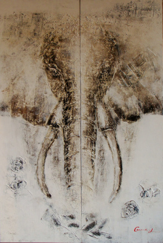 Elephant Animal Oil Painting On Canvas