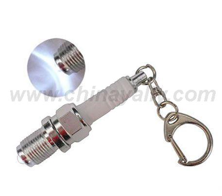 Spark plug led keychain light