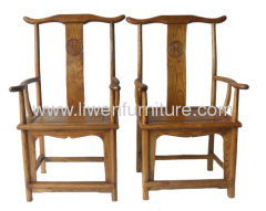 antique elm wood armchair