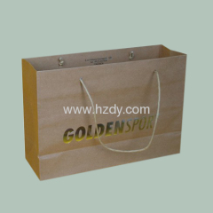 Kraft paper bag with gold hot stamping