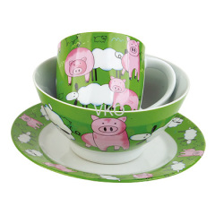 Decal Painted Pig Porcelain Dinner Set Mug Bowl Dish