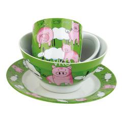 Decal Painted Pig Porcelain Dinner Set Mug Bowl Dish