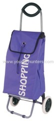 600D purple portable folding shopping trolley bag with wheel