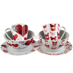 Butterfly And Heart Design Ceramic Dinner Set Mug Bowl Plate