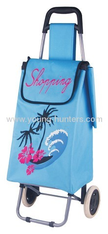 light blue rolling shopping trolley bag
