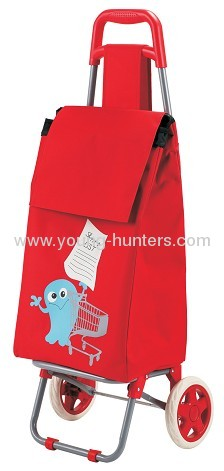 red printed trolley folding school bag