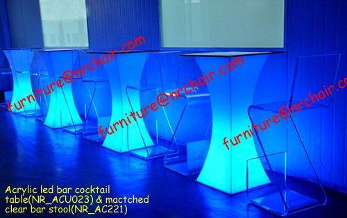 Event Rental Acrylic Led Bar Cocktail Table Furniture NR