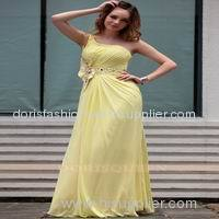 one shoulder yellow ruffle arabic dresses evening