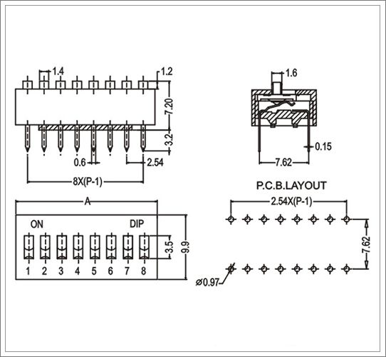 dip switch 4 position datasheets from china manufacturer
