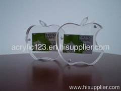 apple-shaped acryic photo frame /picture frame for 2 pictures