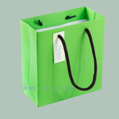Green color printed paper bag