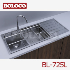 Italy High Quality Matt Double bowl Single drainer Welding rectangle Sink 304# BL-725L