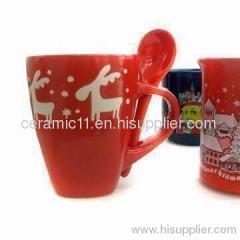Ceramic christmas mug with spoon