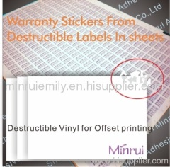 Ultra destructible label papers for offset printing,destructive label vinyl materials