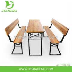 Outdoor wooden beer tables