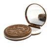 Cocoa Cookies Shape Cosmetic Mirror with Comb