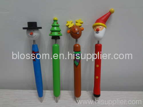 Promotional wooden art ball pen with christmas gift pen